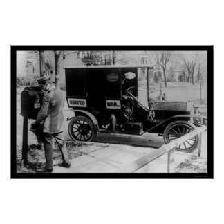 USPS Mailman and Truck 1919 Poster