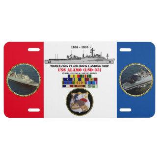 USS ALAMO (LSD-33) LICENSE PLATE