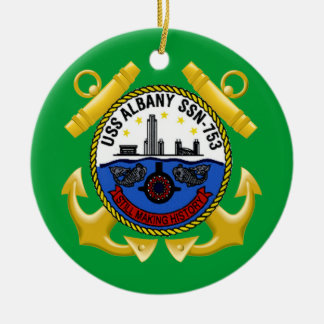 USS Albany SSN-753 Double-Sided Ceramic Round Christmas Ornament