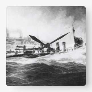 USS Allen convoying USS Leviathan_War Image Square Wall Clock