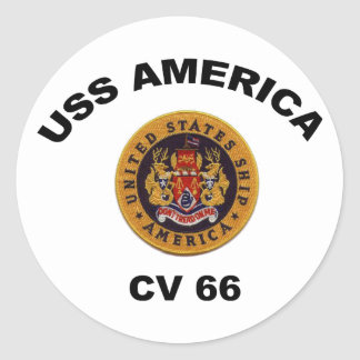 USS America CV-66 Classic Round Sticker