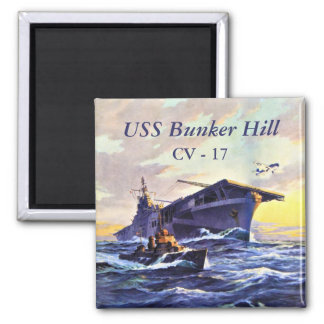 USS Bunker Hill at sea 2 Inch Square Magnet