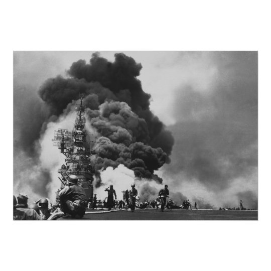 USS Bunker Hill hit by two Kamikazes Poster