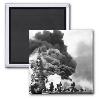 USS BUNKER HILL hit by two Kamikazes_War Image 2 Inch Square Magnet