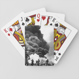 USS BUNKER HILL hit by two Kamikazes_War Image Playing Cards