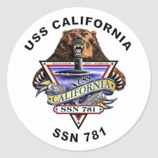 USS California SSN 781 Ship's Crest Classic Round Sticker