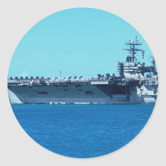 "USS Carl Vinson"", nuclear powered carrier CV-70 Classic Round Sticker"