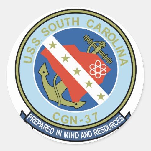 USS Carolina del Sur (CGN 37) Pegatina Redonda