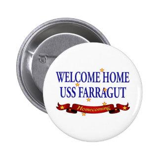 USS casero agradable Farragut Pin Redondo De 2 Pulgadas
