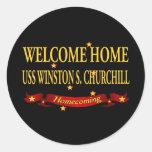 USS casero agradable Winston S. Churchill Etiqueta Redonda
