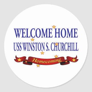 USS casero agradable Winston S. Churchill Pegatina Redonda