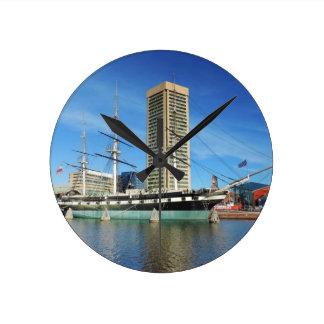 USS Constellation Baltimore Round Wall Clocks