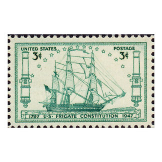 USS Constitution 150th Anniversary Stamp 1947 Larg Poster