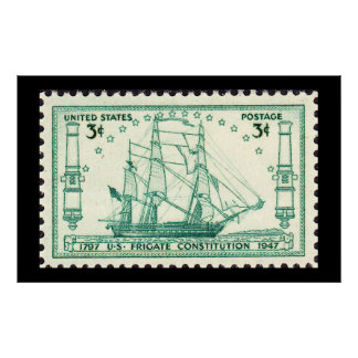 USS Constitution 150th Anniversary Stamp 1947 Poster