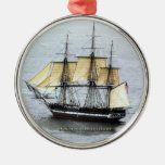USS Constitution at Full Mask Round Metal Christmas Ornament