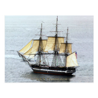 USS Constitution at Full Mask Postcard