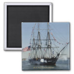 USS Constitution Firing Cannons 2 Inch Square Magnet