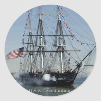 USS Constitution Firing Cannons Classic Round Sticker