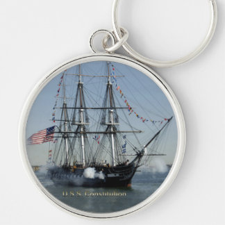 USS Constitution Firing Cannons Keychain