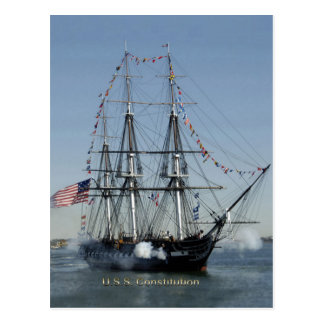 USS Constitution Firing Cannons Postcard