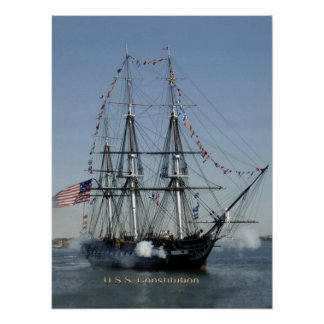 USS Constitution Firing Cannons Posters