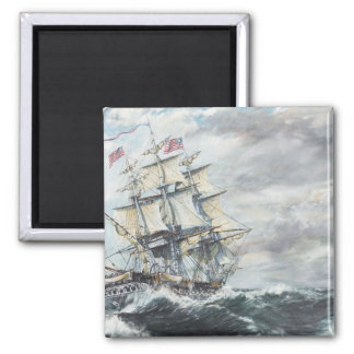 USS Constitution heads for HM Frigate Guerriere 2 Inch Square Magnet
