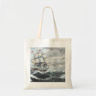 USS Constitution heads for HM Frigate Guerriere Budget Tote Bag
