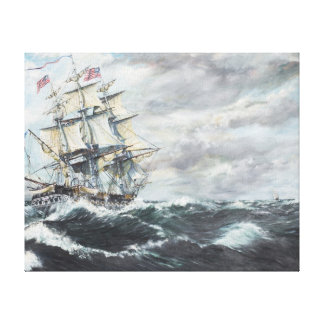 USS Constitution heads for HM Frigate Guerriere Canvas Print