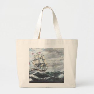 USS Constitution heads for HM Frigate Guerriere Jumbo Tote Bag