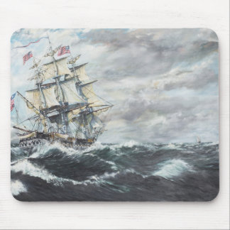 USS Constitution heads for HM Frigate Guerriere Mouse Pad