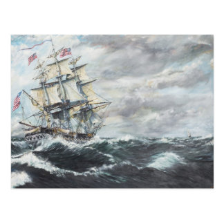 USS Constitution heads for HM Frigate Guerriere Postcard