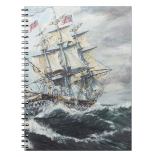 USS Constitution heads for HM Frigate Guerriere Spiral Notebook