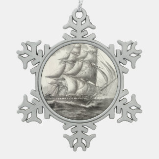 USS Constitution Snowflake Pewter Christmas Ornament