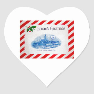 USS CRONIN Design Heart Sticker