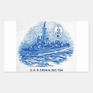 USS CRONIN Design Rectangle Stickers