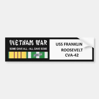 USS FRANKLIN D. ROOSEVELT VIETNAM WAR VETERAN BUMPER STICKER