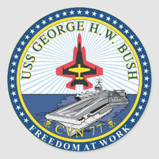 USS George H W Bush Classic Round Sticker