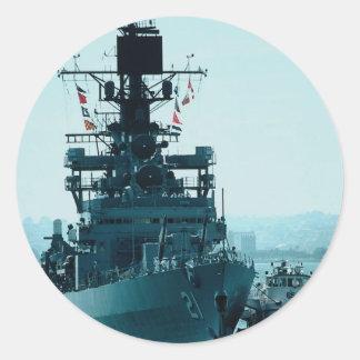 USS Gridley coast guard cruiser prepares to dock Round Sticker
