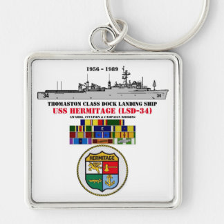 USS HERMITAGE (LSD-34) Silver-Colored SQUARE KEYCHAIN