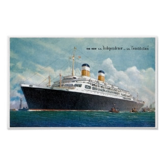 USS Independence & SS Constitution Vintage Poster