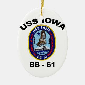 USS Iowa BB-61 Ceramic Ornament