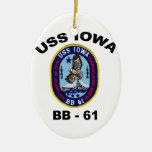 USS Iowa BB-61 Double-Sided Oval Ceramic Christmas Ornament