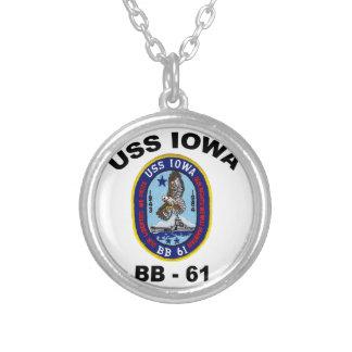 USS Iowa BB-61 Round Pendant Necklace