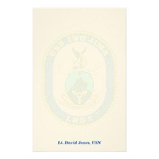 USS IWO JIMA LHD7 - Ship Crest Stationary, Persona Stationery