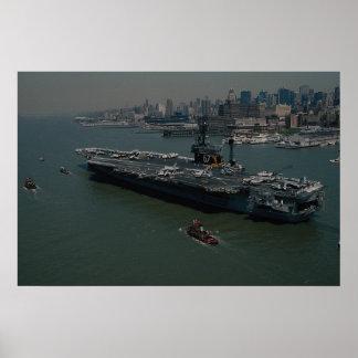 USS John F Kennedy entering New York s Hudson R Poster