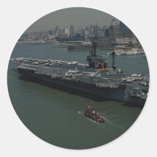 USS John F Kennedy entering New York s Hudson R Stickers