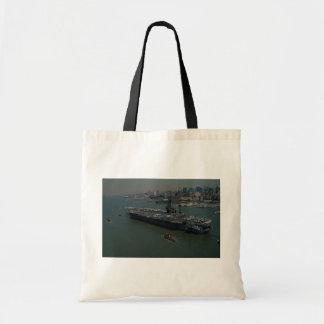 "USS John F. Kennedy"", entering New York's Hudson R Bags"