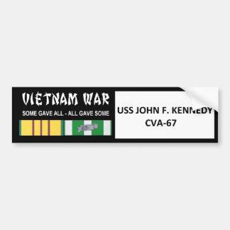 USS JOHN F. KENNEDY VIETNAM WAR VETERAN BUMPER STICKER