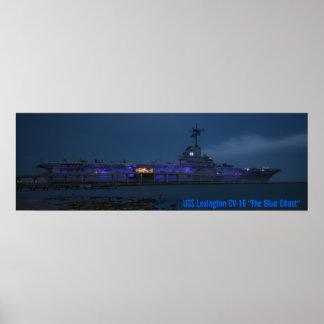 "USS Lexington CV-16 ""el fantasma azul "" Póster"