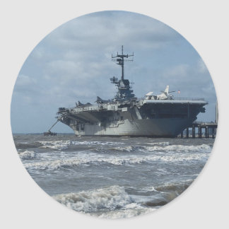 USS Lexington Round Sticker